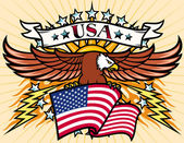 Flying eagle with USA flag — Stock Vector