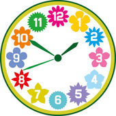 Clock with flowers — 图库矢量图片