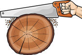 Cutting tree with hand saw — Stock Vector