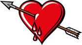 Heart with arrow design — Stock Vector