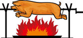 Roasted pig on a spit — Stock Vector