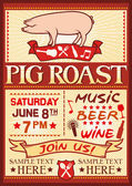 Pig roast poster — Stock Vector