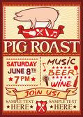 Pig roast poster — Stock Vector