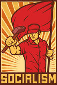 Worker holding flag and hammer — Stock Vector