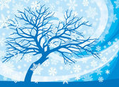 Winter tree and snowflakes — Stock Vector