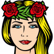 Beautiful woman with red roses and wreath in her hair — Stock Vector #50289405