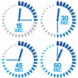 Clock icons - fifteen seconds, thirty seconds, forty-five seconds, sixty seconds — Stock Vector #50289579