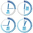 Clock icons with minutes and seconds — Stock Vector #50289579