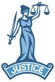 Justice statue label — Stock Vector