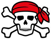 Pirate skull with red bandanna and bones — Stock Vector