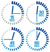 Clock icons - fifteen seconds, thirty seconds, forty-five seconds, sixty seconds — Stock Vector