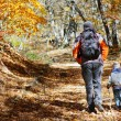 Father and son walking in autumn forest — Stock Photo