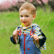 Baby boy with dandelion portrait — Stock Photo #12605522