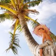 Happy boy on tropical beach — Stock Photo
