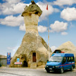 Police station in rock formation, cappadoccia, turkey - Stock Photo