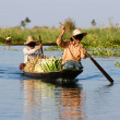Burmese women in wooden canoe - Stock Photo