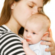 Mother and baby over white — Stock Photo