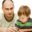 Father and son drawing over white — Stock Photo