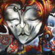 Background picture of urban graffiti wall - Stock Photo