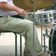 Drummer at drum set — Stock Photo