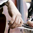 Close up of playing contrabass - Stock Photo
