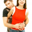 Young couple over white — Stock Photo