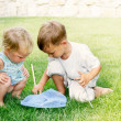 Two kids playing with butterfly net — Stockfoto