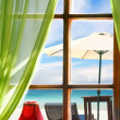 Wooden window with sea view — Stock Photo