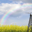 Wind turbine on meadow and rainbow background — Stock Photo