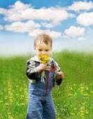 Petit garçon avec pissenlits sur fond de ciel — Photo