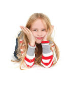 Young girl grimacing over white — Stock Photo
