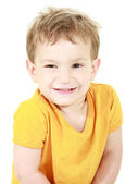Smiling toddler over white — Stock Photo