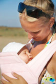 Mother and baby outdoor — Stock Photo