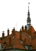 Medieval castle roof isolated over white — Stock Photo