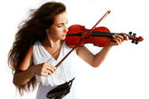 Attractive girl playing violin over white — Stock Photo