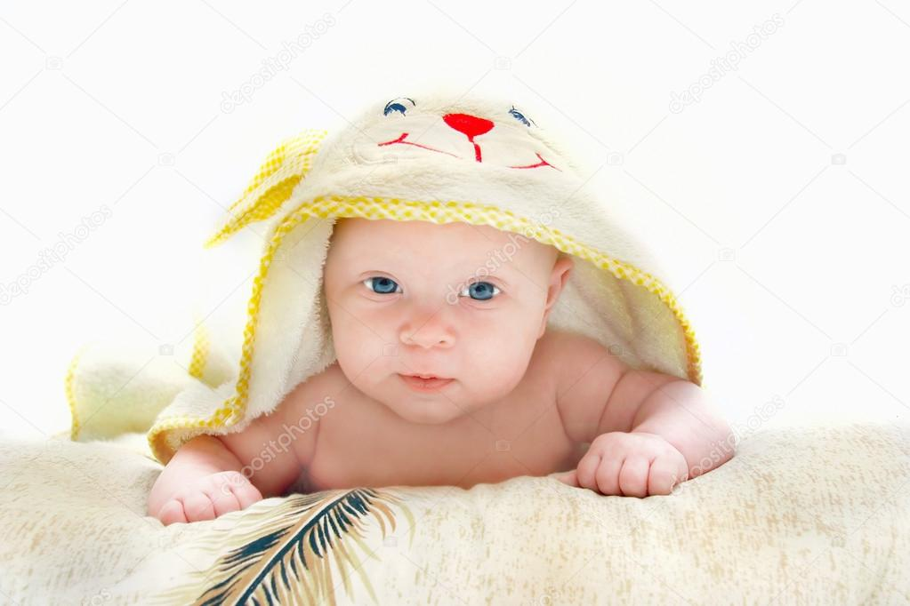 Baby after bath portrait over white — Stock Photo #12605828