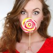 Young beautiful woman with big lollipop — Stock Photo #12610284