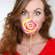 Young beautiful woman with big lollipop — Stock Photo