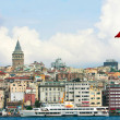 Turkish flag on galata tower background, istanbul, turkey - Stock Photo