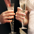 Just married couple with glasses of champaign — Stock Photo #12610724