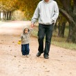 Stock Photo: Father and son walking in park