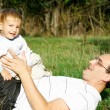 Father and son outdoor portrait - Stockfoto