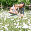 Father and son on natural background — Stock Photo