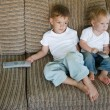 Stock Photo: two kids watching tv