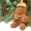 Xmas tree and teddy bear - Stock Photo