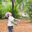 Young boy throwing leaves in autumn park — Stock Photo