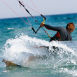 Stock Photo: Close up of kitesurfer