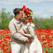 Kissing couple in red poppies field — Stock Photo #12614960
