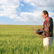 Man with laptop in green field - Stock Photo