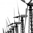 Royalty-Free Stock Photo: Group of wind turbines over white